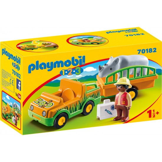 Playmobil 123 Zoo Vehicle With Rhinoceros 70182