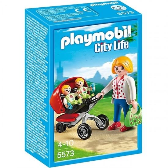 Playmobil Μητέρα με Δίδυμα σε Καροτσάκι (5573)