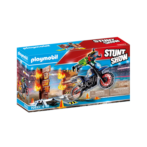 PLAYMOBIL Stunt show motorcycle with wall of fire (70553)