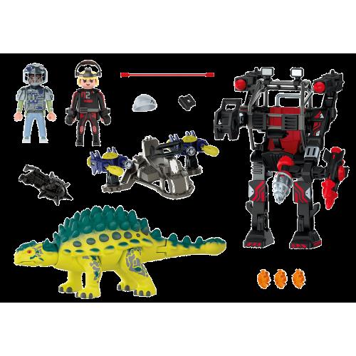 Playmobil Dino Rise Αγκυλόσαυρος με μαχητή εναντίον ρομπότ (70626)