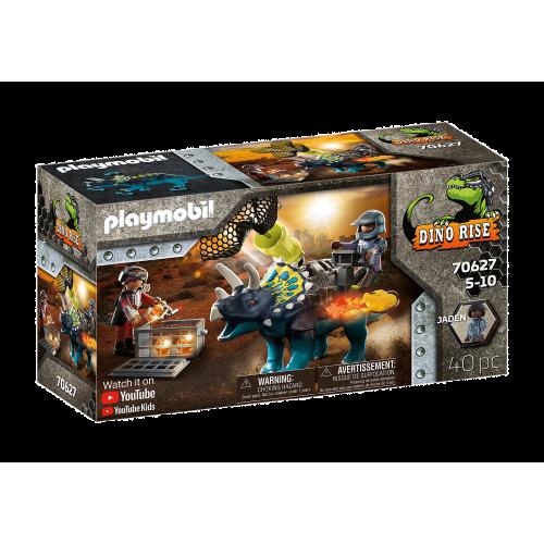 Playmobil Dino Rise Τρικεράτωψ με πανοπλία-κανόνι και μαχητές (70627)