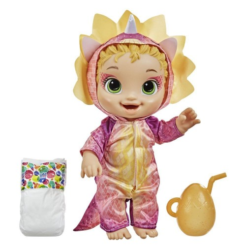 Hasbro Baby Alive Dino Cuties Doll, Triceratops, Drinks (F0933)