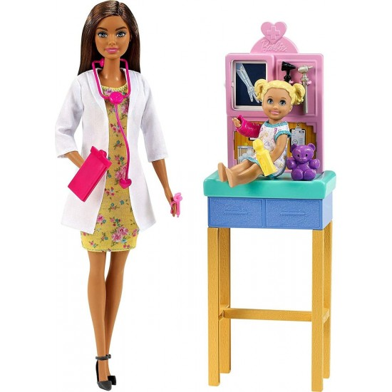 Barbie Καστανή Κούκλα Παιδίατρος (GTN52)