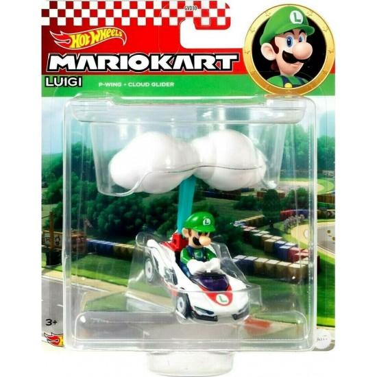 Mattel Hot Wheels – Mario Kart Αυτοκινητάκι, Luigi Με Ανεμόπτερο (GVD35/GVD30)