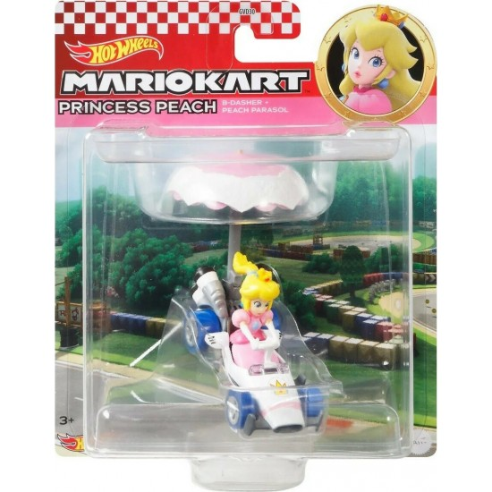 Mattel Hot Wheels – Mario Kart Αυτοκινητάκι, Princess Peach Με Ανεμόπτερο (GVD36/GVD30)