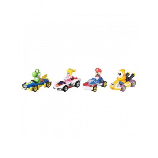 Mattel Hot Wheels Αυτοκινητάκια Mario Kart Σετ Των 4 (GWB36/GWB38)
