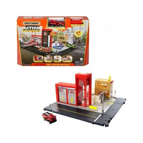 Mattel Matchbox  Action Drivers Μεγάλα Σετ Δράσης Πυροσβεστικός Σταθμός (HBD74/HBD76)