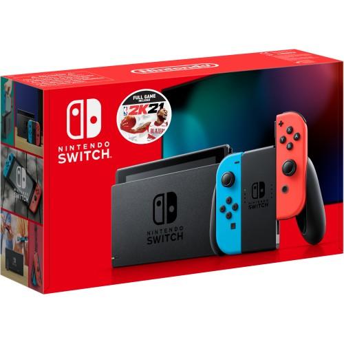 Nintendo Switch Neon Red/Neon Blue + NBA 2K21 Bundle