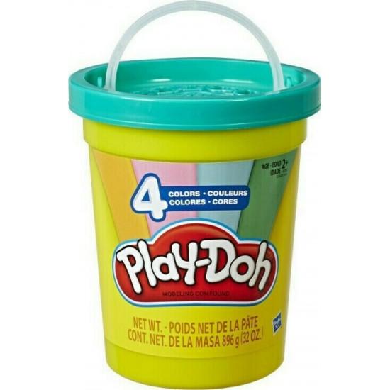 Hasbro Play-Doh Modern Colors Tub Με 4 Μοντέρνα Χρώματα - Ανοιχτό Μπλε, Πράσινο, Πορτοκαλί Και Ροζ (E5208)