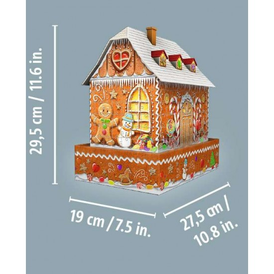 Ravensburger 3D puzzle gingerbread house at night (11237)