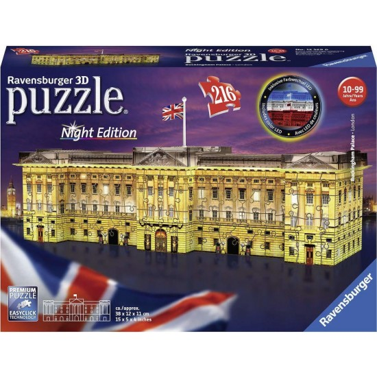 Ravensburger Night Edition 216pcs 3D Puzzle  Παλάτι του Μπάκιγχαμ (12529)