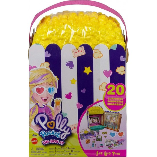 Mattel Polly Pocket Un-Box-It Playset, Popcorn Shape Box Σινεμά Ποπ Κορν Σετ (GVC96)
